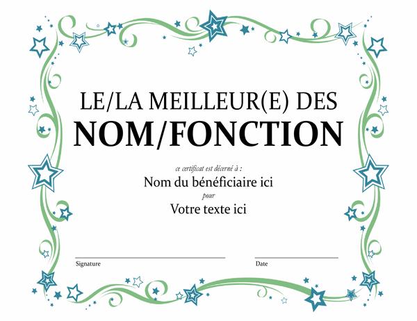 Certificat de mérite Le/la meilleur(e) des