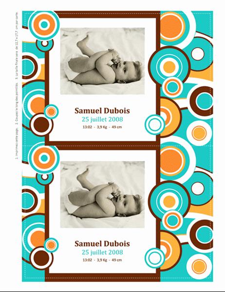 Cartes de faire-part de naissance avec photo (modèle cercles)