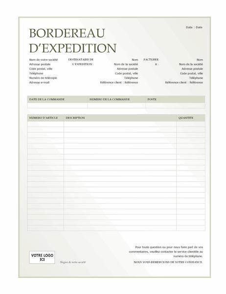 Bordereau d'expédition (conception avec dégradé de verts)