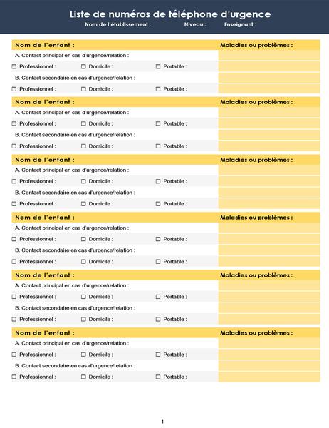 Liste de numéros de téléphone de classe en cas d'urgence