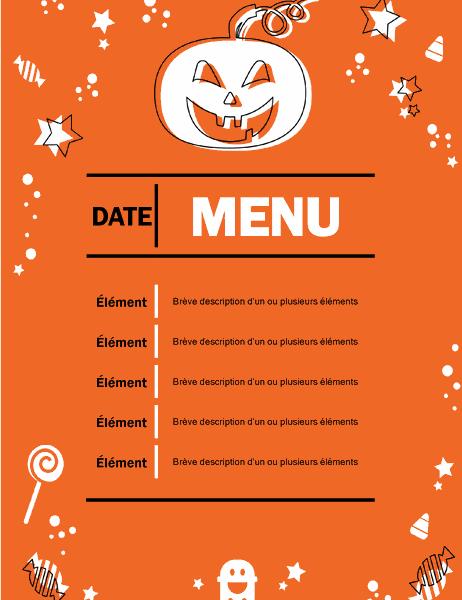 Menu fête halloween