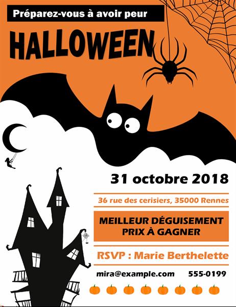 Prospectus Chauve-souris effrayante pour soirée Halloween