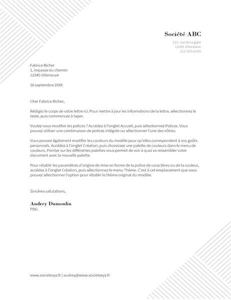 En-tête de lettre Fines rayures