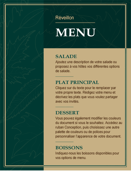 Menu de Thanksgiving