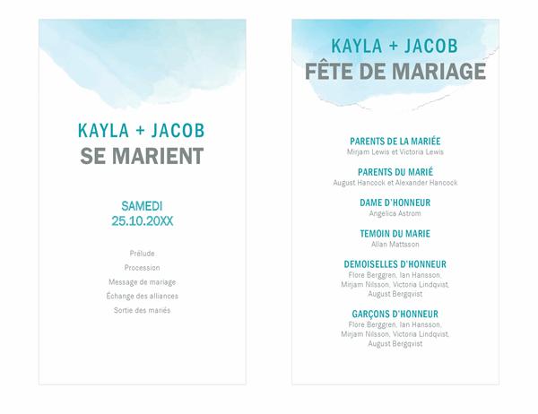 Programme de mariage lavable à l'aquarelle
