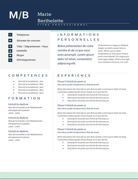 CV avec initiales modernes
