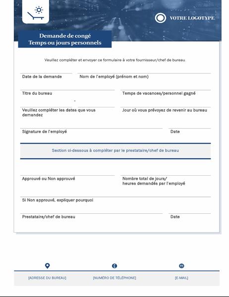 Formulaire de demande de congés pour employés de petite entreprise