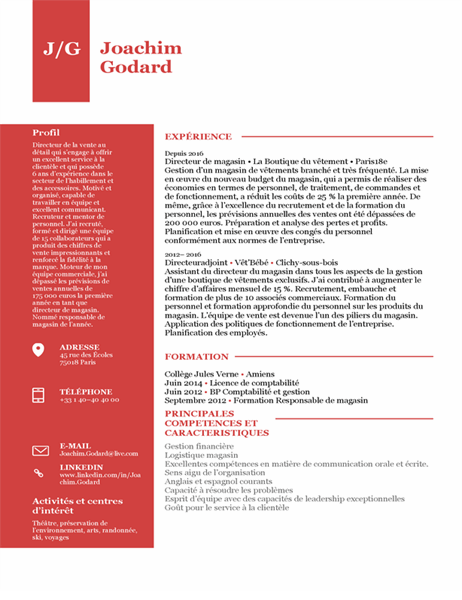 CV de directeur de magasin
