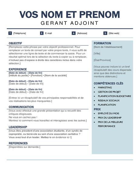 CV moderne organisé