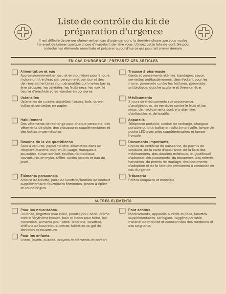 Liste de contrôle du kit de préparation d'urgence