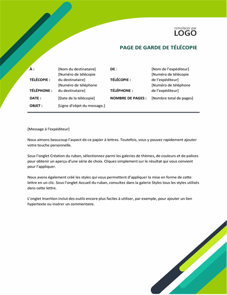 Page de garde de fax Capsules modernes