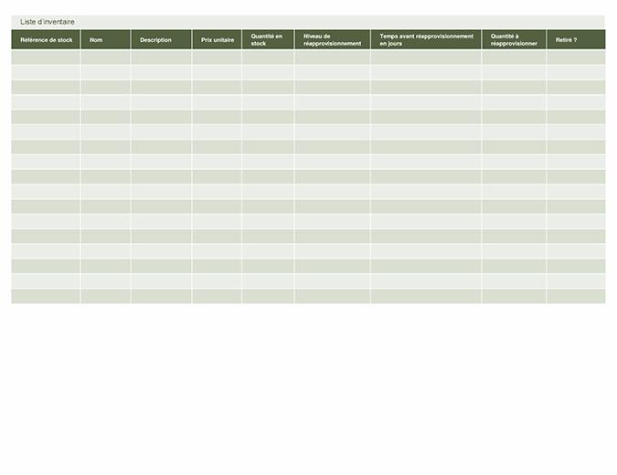 Liste d'inventaire