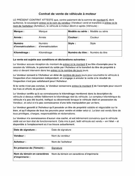 Contrat de vente de véhicule à moteur