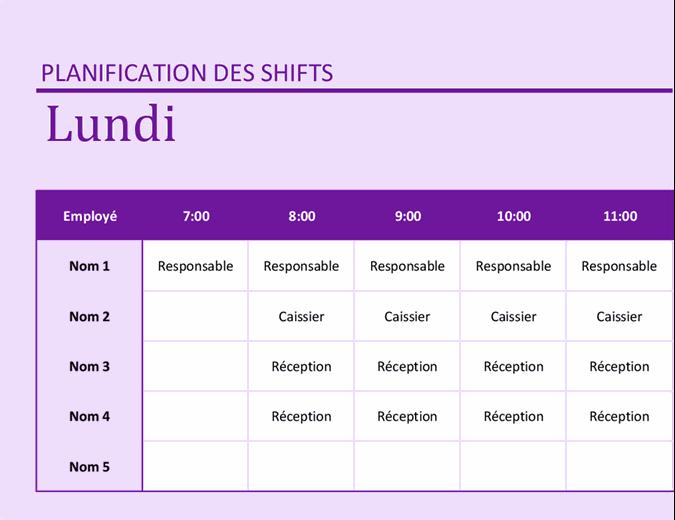 Planning des employés