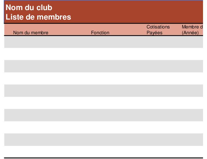 Liste de membres