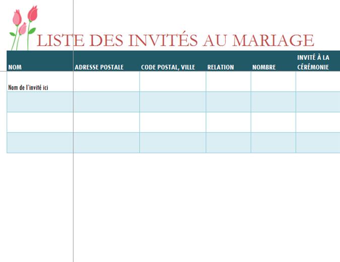 Liste des invités au mariage (tulipes)