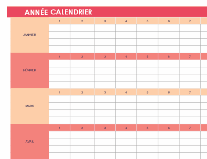 Calendrier (universel, horizontal)