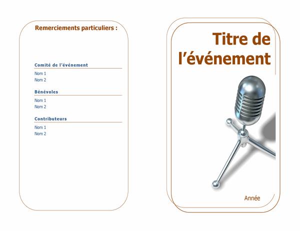 Programme de l'événement (plié en deux)