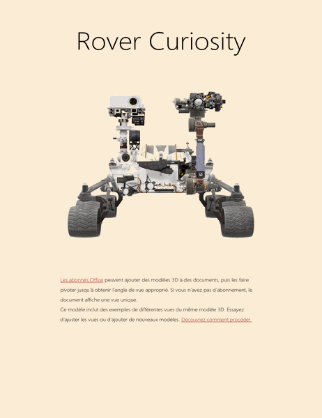 Rapport scientifique 3D Word (modèle Mars Rover)
