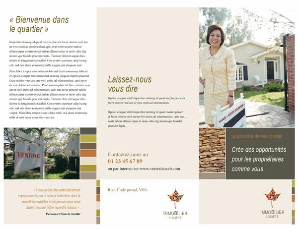 Brochure entreprise immobilière (dépliant à trois pages)