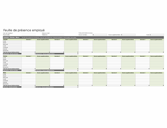 Feuille de présence employé (quotidienne, hebdomadaire, mensuelle et annuelle)