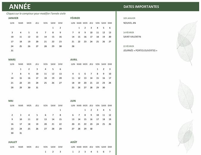 Calendrier professionnel (n'importe quelle année, lun-dim)