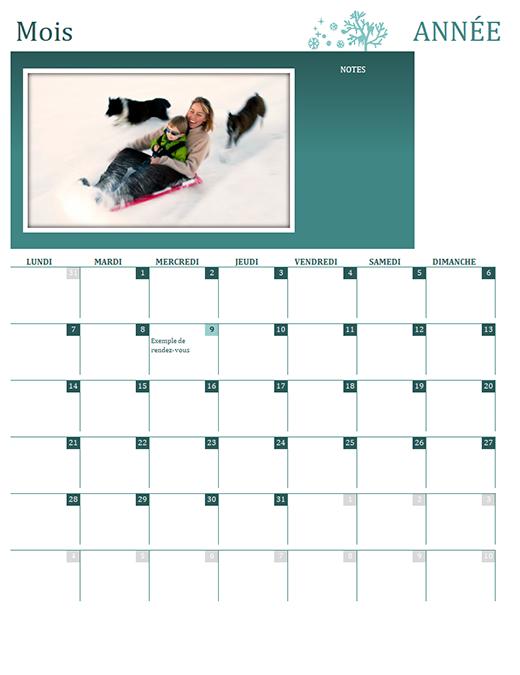 Calendrier familial par saisons (année quelconque, Lun-Dim)