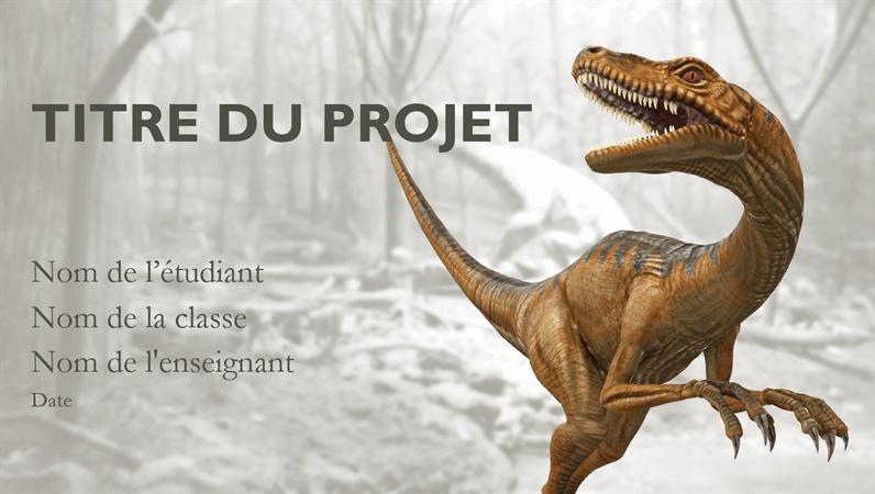 Présentation de rapport de projet scolaire avec modèles dinosaures