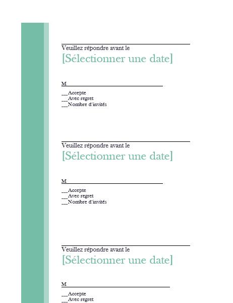 RSVP pour mariage (3 par page)