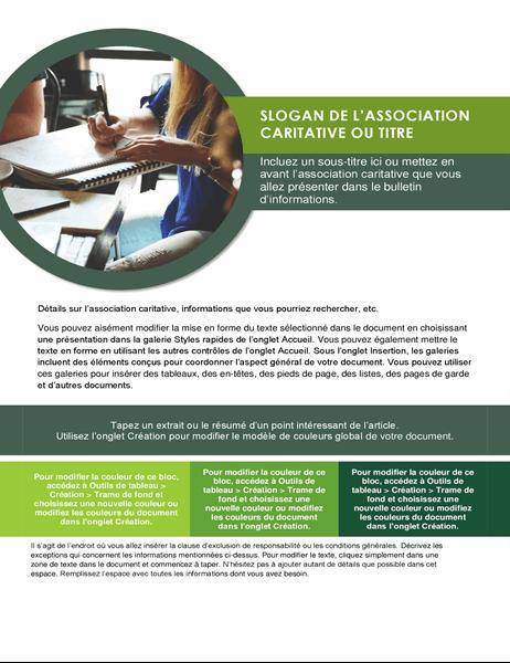 Bulletin pour les œuvres caritatives