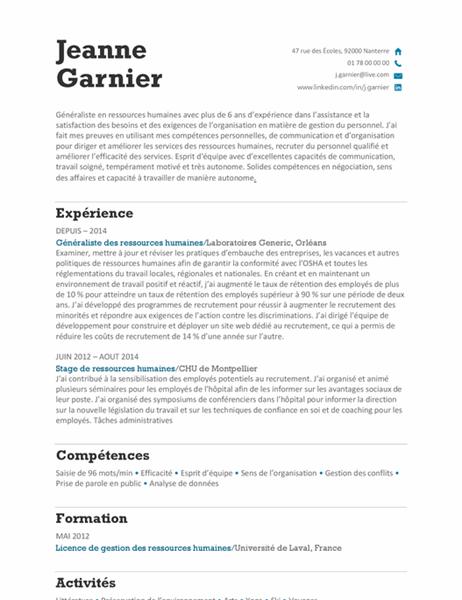 CV des ressources humaines