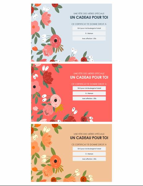 Chèques-cadeau de la fête des mères: thème floral élégant