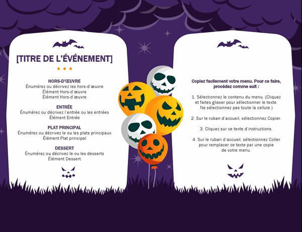 Menu Halloween Hanté