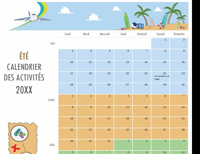 Calendrier des activités estivales
