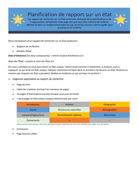 Planificateur de rapport sur un état/pays