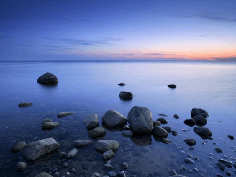 Thème mer - Couché de soleil bleu