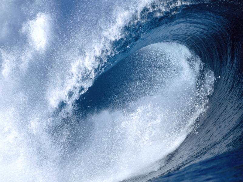 Thème mer - Vague tube bleue