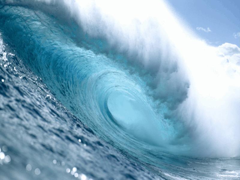 Thème mer - Vague tube turquoise
