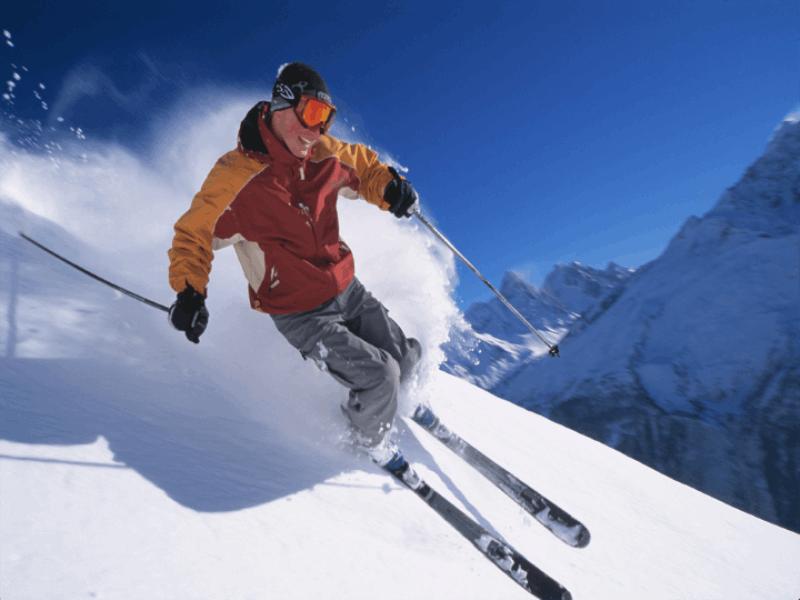 Thème ski - Poudreuse et ciel bleu