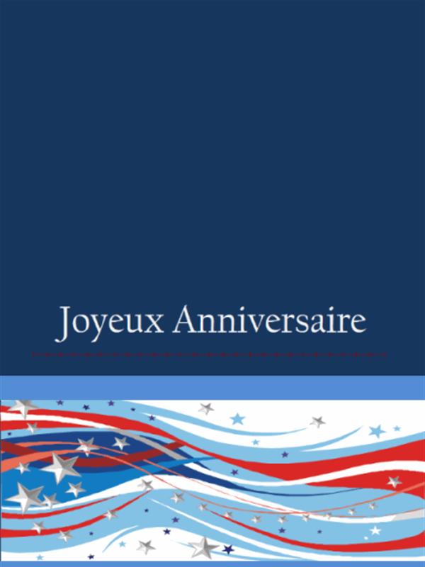 Thème anniversaire - Carte bleue avec étoiles