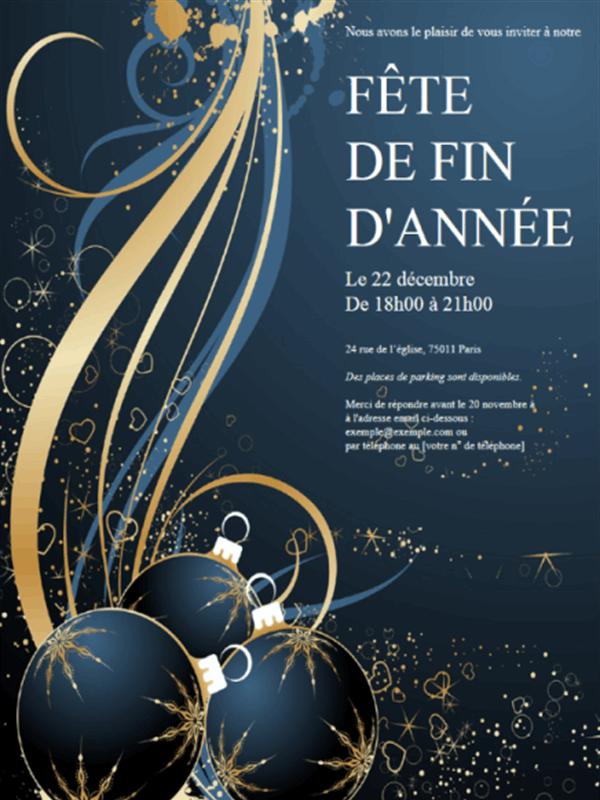 Thème noel - Invitation fête de fin d'année (bleue)
