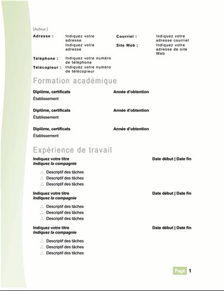 CV moderne (vert)