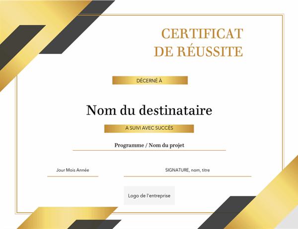 Certificat de mérite formel