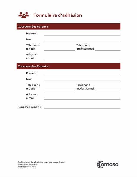 Formulaire d'adhésion