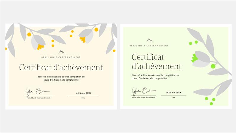 Certificat d'achèvement «Branche en fleurs»