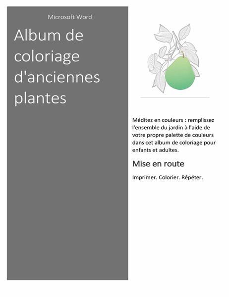 Livre de coloriage avec des plantes style ancien