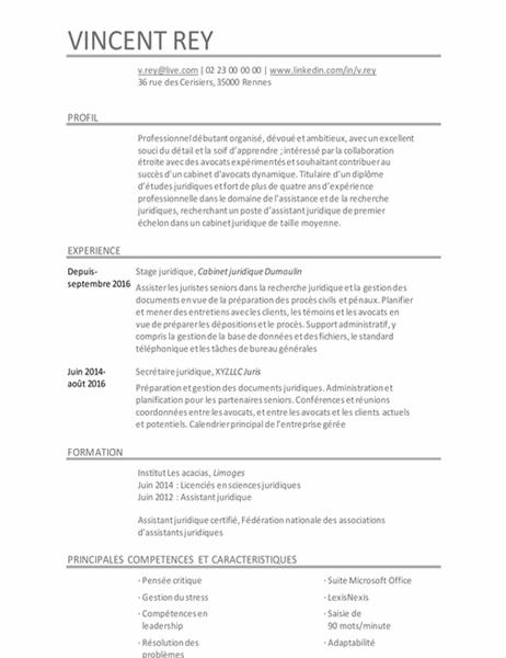 CV d'assistant juridique