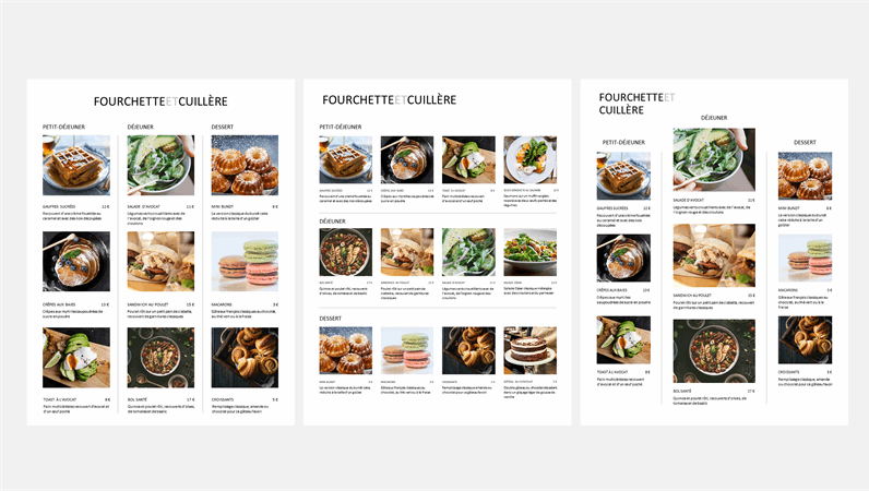 Menu avec photos