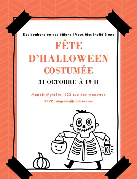 Invitation squelette Halloween