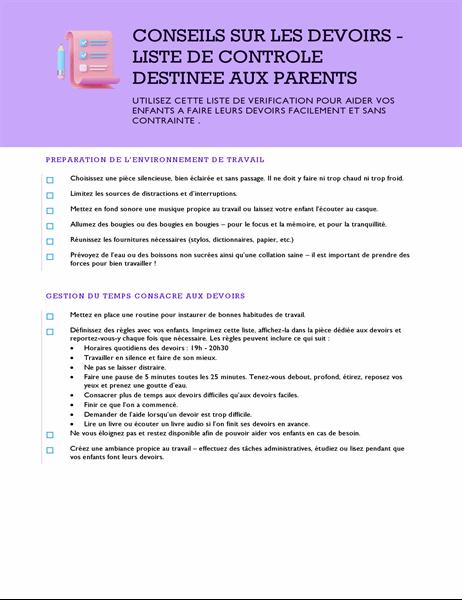 Conseils sur les devoirs - Liste de contrôle